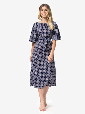 Платье синее с принтом | 5136804