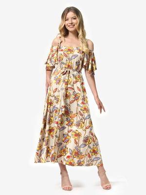 Платье бежевое с цветочным принтом | 5136805