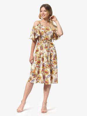 Платье бежевое с цветочным принтом | 5136806