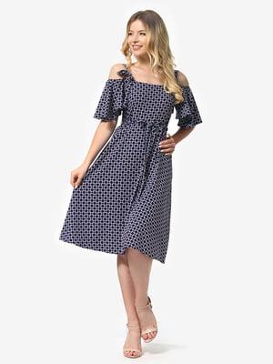 Платье синее с принтом | 5136807