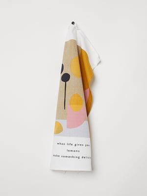 Рушник білий з принтом | 5113233