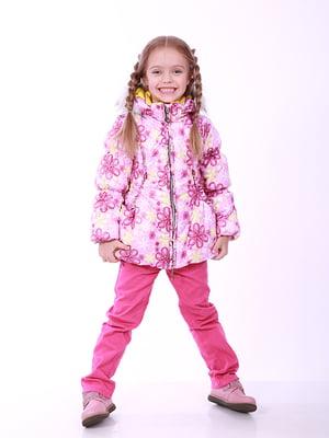 Куртка рожева в квітковий принт | 5140548