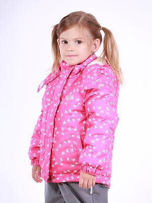 Термокуртка рожева в принт | 5140557