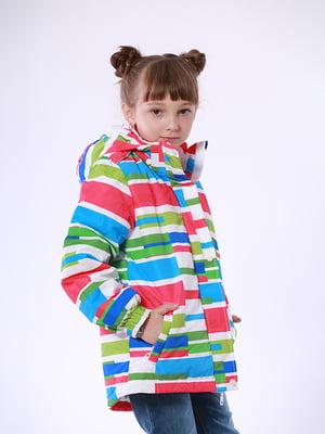 Термокуртка белая в принт | 5140582