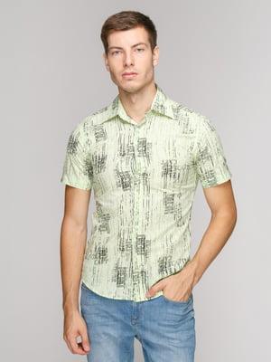 Рубашка салатового цвета в принт | 5114411