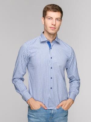 Рубашка голубая в клетку | 5114369