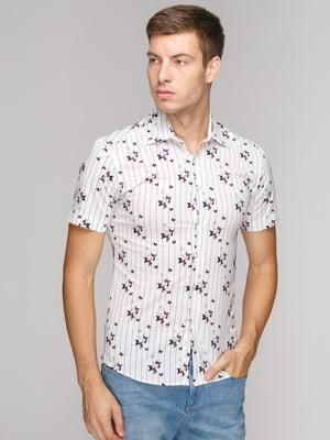 Рубашка белая в принт | 5114410