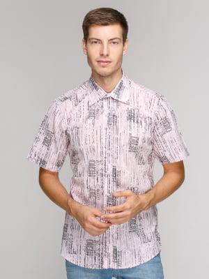 Рубашка сиреневая в принт | 5114412