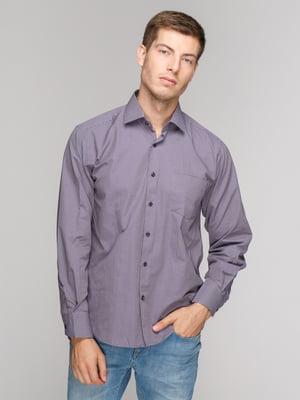 Сорочка баклажанового кольору в смужку | 5114373