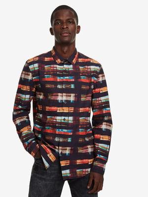Рубашка коричневая в принт | 5126063