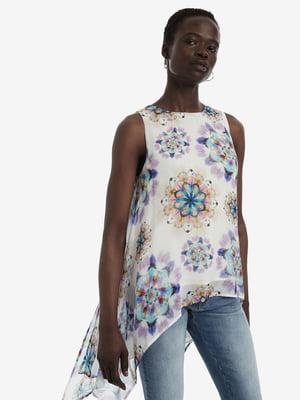 Блуза белая в принт | 5143157