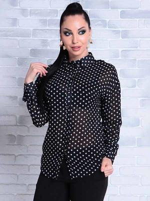 Блуза черная в горошек | 5143487