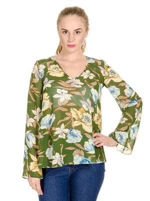 Блуза зелена в квітковий принт | 4695389