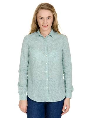 Рубашка зеленая в цветочный принт | 5126186
