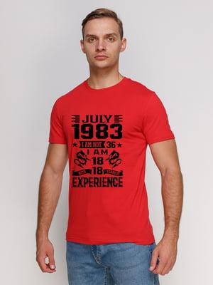 Футболка червона з принтом | 5145240
