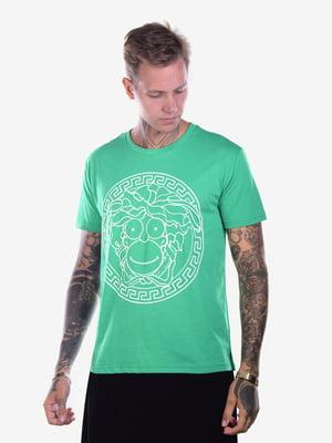 Футболка зеленая с принтом | 5150190