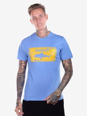 Футболка голубая с принтом | 5150275
