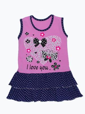 Сукня рожево-синя в горох і принт | 5151452
