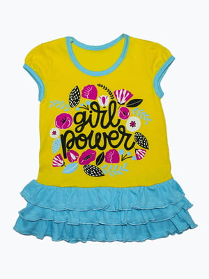 Платье желто-голубое с принтом   5151483