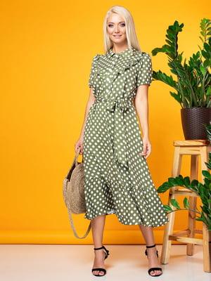 Сукня оливкового кольору в горох   5151760