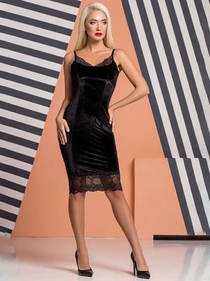 Платье черное велюровое | 5151838
