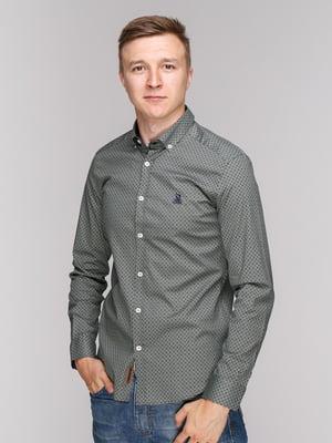 Рубашка хаки в принт   4327076