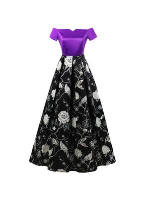 Сукня чорно-пурпурна з принтом | 5154030