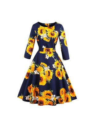 Сукня синя в квітковий принт | 5154050
