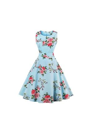 Сукня блакитна в квітковий принт | 5154067