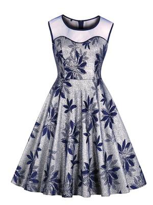 Сукня срібляста в принт | 5154151