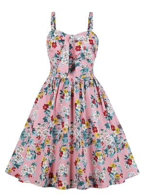 Сукня рожева в квітковий принт | 5154193
