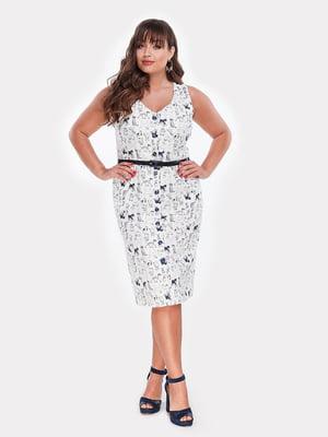 Платье белое в принт | 5039488