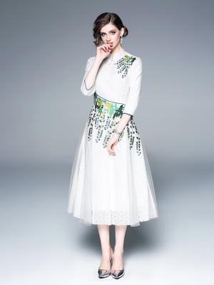 Сукня біло-зелена | 5155213