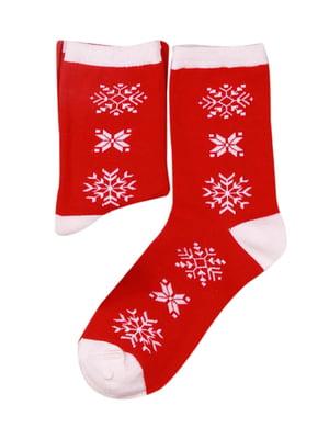 Носки красные в принт   4782343