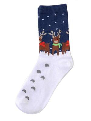 Шкарпетки сині в принт | 4820847