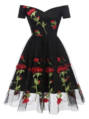 Сукня чорна в квітковий принт | 5156122