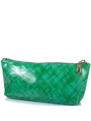 Косметичка зелена в принт | 5157008