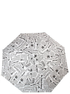 Парасолька-напівавтомат чорно-біла | 5157281