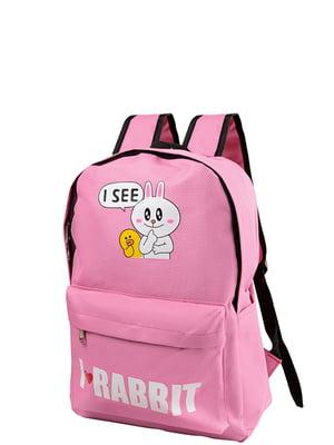 Рюкзак светло-розовый с принтом | 5157451
