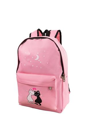 Рюкзак светло-розовый с принтом | 5157453
