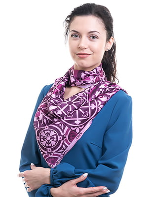 Платок фиолетовый в принт | 5157789