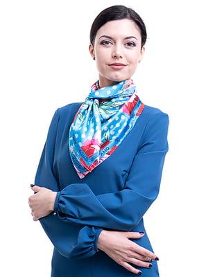 Платок голубой в цветочный принт | 5157792