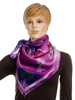 Хустка фіолетова в принт | 5157811