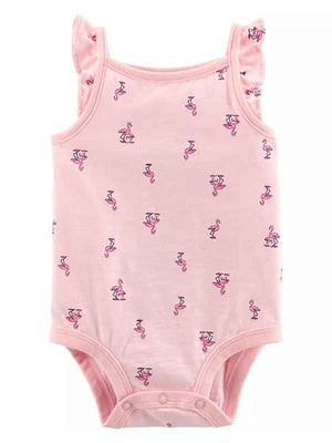 Боди-майка розовая в принт | 5161065