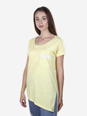 Футболка жовта з принтом | 5163133