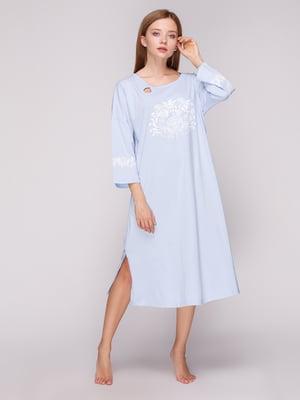 Сорочка нічна блакитна з принтом | 5163590