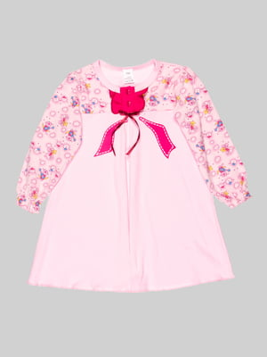 Рубашка ночная розовая в принт | 5163554