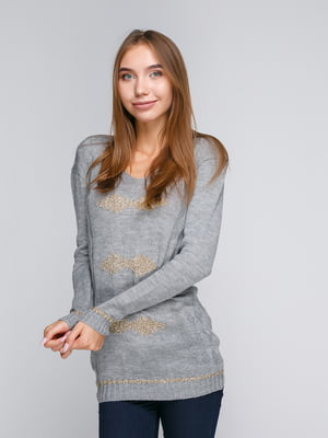 Пуловер серый с ромбами | 5163048