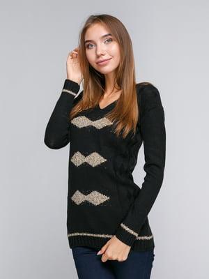 Пуловер черный с ромбами | 5163095