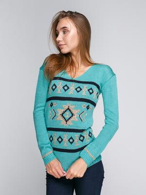 Пуловер бирюзовый с узором | 5163091